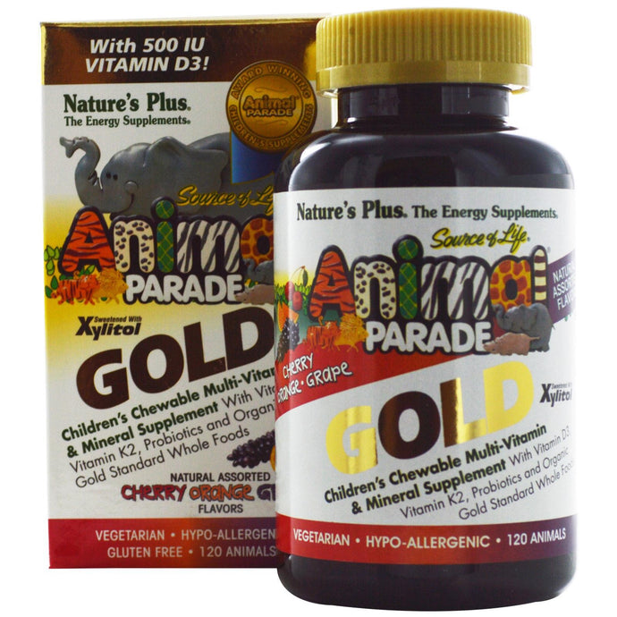 Animal Parade GOLD, Children's Chewable Multi-Vitamin & Mineral Supplement, Natural Assorted Flavors