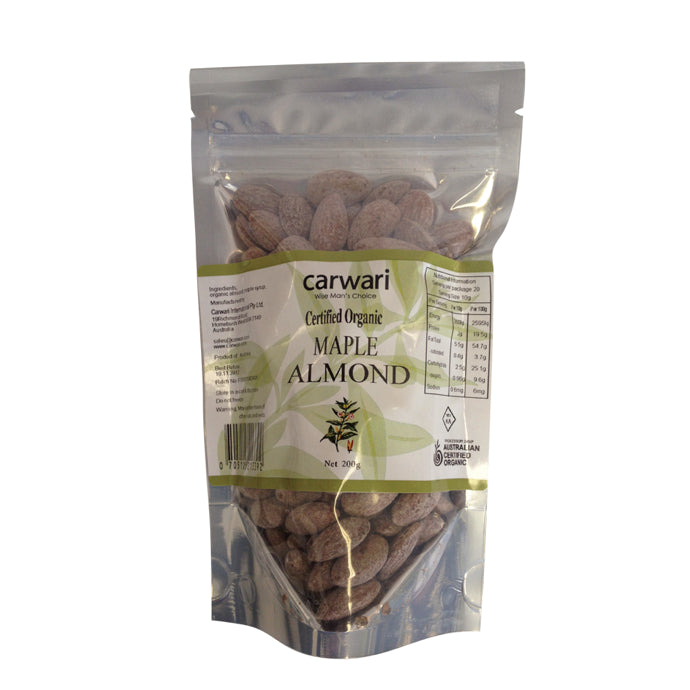 Carwari, Organic Maple Almonds, 200 g - Health Supplement