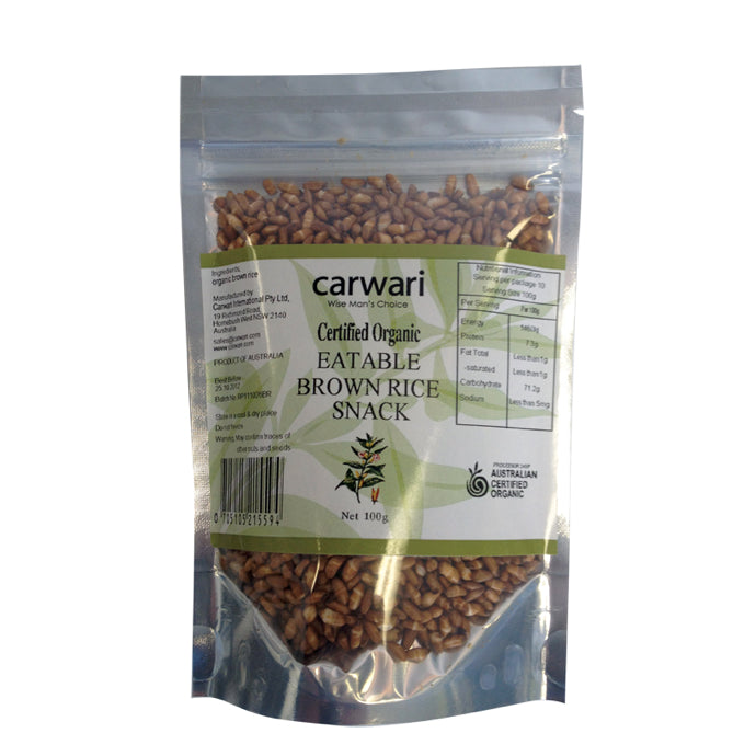 Carwari, Organic Eatable Brown Rice Snack, 100 g - Health Supplement