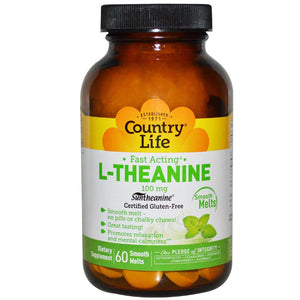 Country Life, Gluten Free, L-Theanine, 100 mg, 60 Smooth Melts