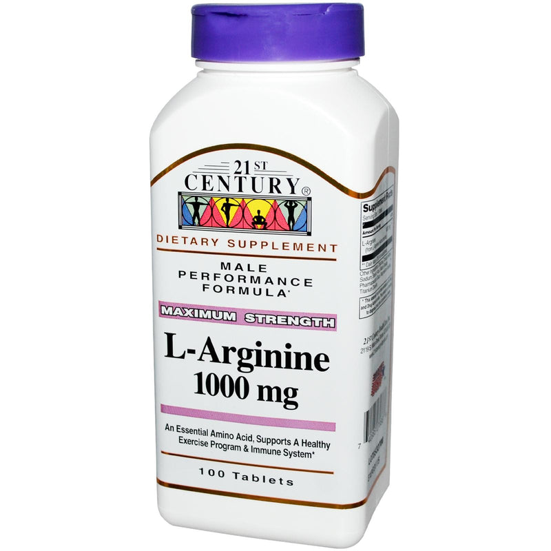 21st Century Health Care L-ArgininecMaximum Strength 1000mg 100 Tablets