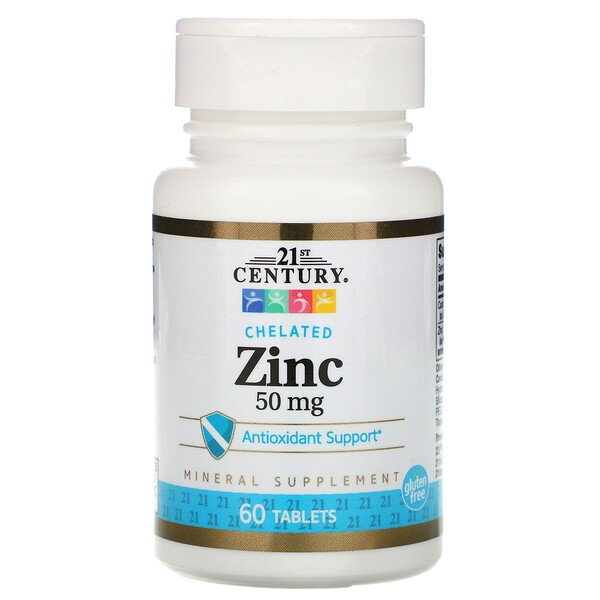 21st Century, Zinc, Chelated, 50 mg, 60 Tablets