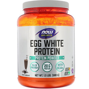 Now Foods, Eggwhite Protein, Creamy Chocolate, 1.5 lbs (680 g)