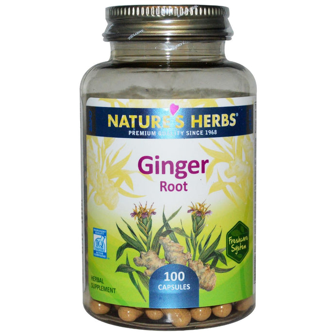Nature's Herbs Ginger Root 100 Capsules - Herbal Supplement
