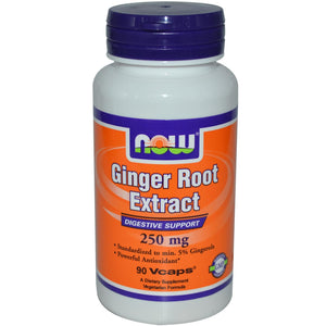 Now Foods Ginger Root Extract 250 mg 90 Veggie Capsules
