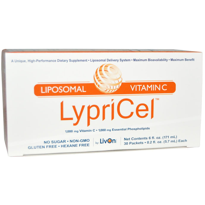 LivOn Laboratories Lypricel Liposomal (Lypo-Spheric) Vitamin C 30 Packets 5.7 ml 0.2 fl oz Each