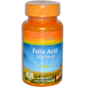 Thompson Folic Acid Plus B-12 800 mcg 30 Tablets - Dietary Supplement