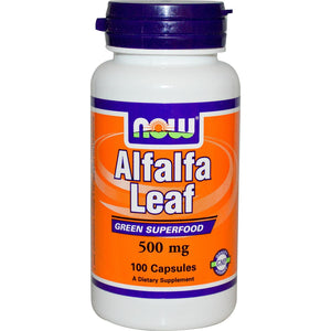 Now Foods Alfalfa Leaf 500mg 100 Capsules - Dietary Supplement