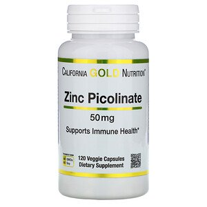 California Gold Nutrition, Zinc Picolinate, 50 mg, 120 Veggie Capsules