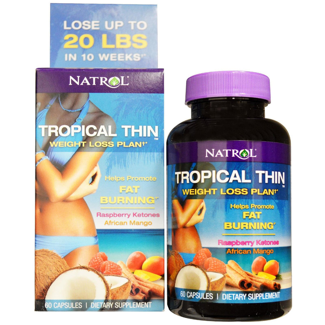 Natrol Tropical Thin Weight Loss Plan Raspberry Ketones African Mango 60 Capsules