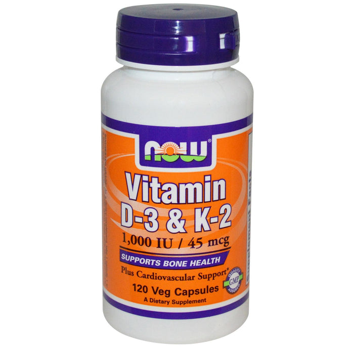 Now Foods Vitamin D3 & K2 1000IU/45mcg 120 Capsules