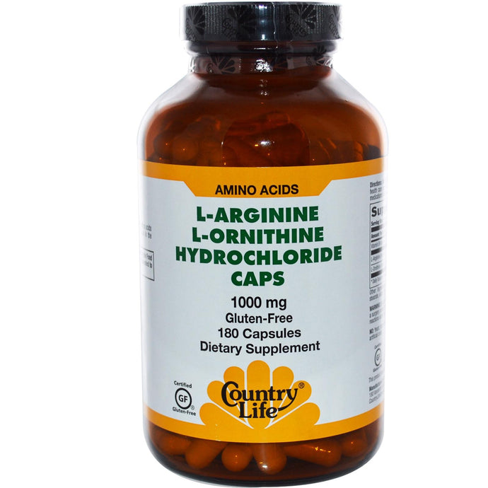 Country Life Gluten Free L-Arginine L-Ornithine Hydrochloride Caps 1000 mg 180 Capsules