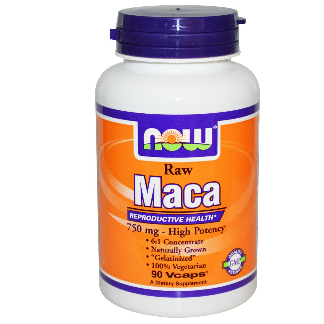 Now Foods Maca Raw 750 mg 90 Veggie Capsules - Dietary Supplement