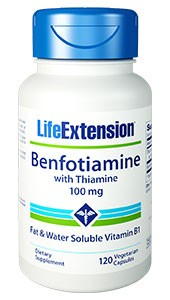 Life Extension Benfotiamine with Thiamine 100mg, 120 Veggie Caps