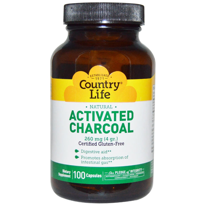 Country Life Activated Charcoal 260mg 100 Capsules