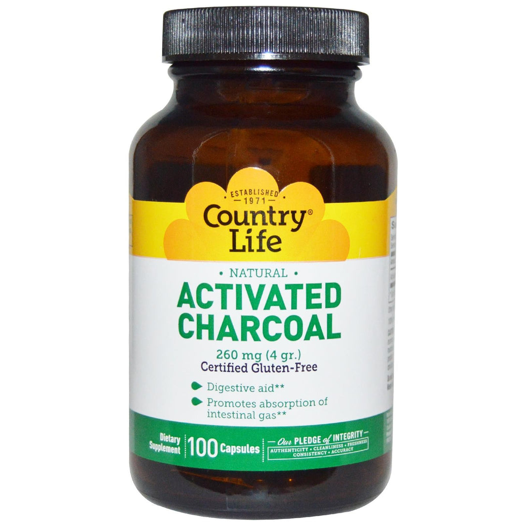 TWIN PACK- 2 Bottles of Activated Charcoal, Country Life, 260mg 100 Caps X 2 Bottles