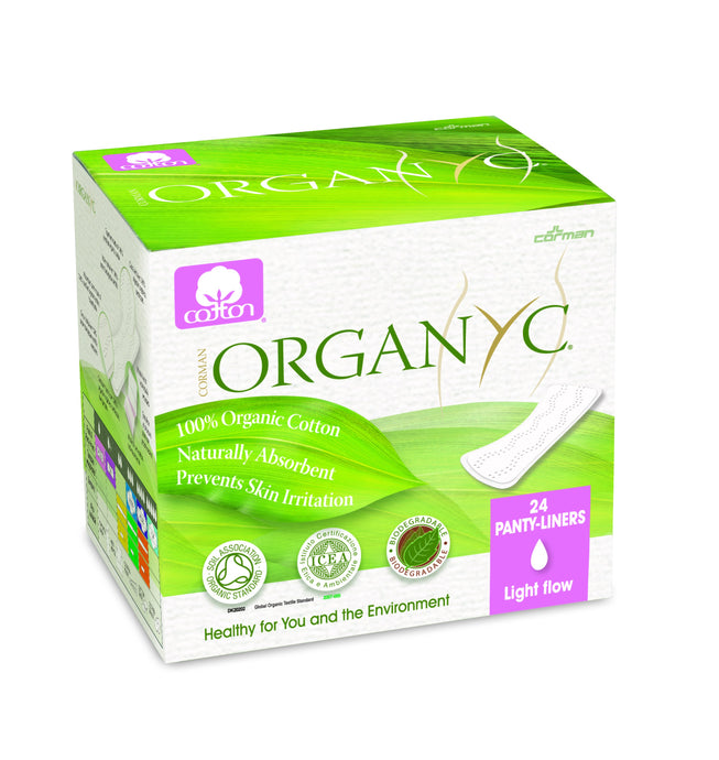 Corman, Organyc, Panty Liners, 100% Organic Cotton, Light Flow, Thin, 24 Pack