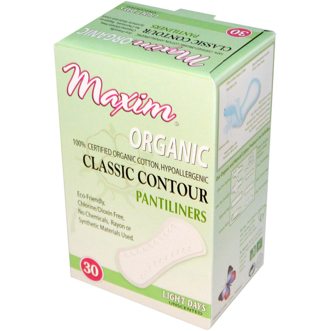 Maxim Hygiene Products, Organic, Classic Contour Pantiliners, Light Days, Unscented, 30 Pantiliners