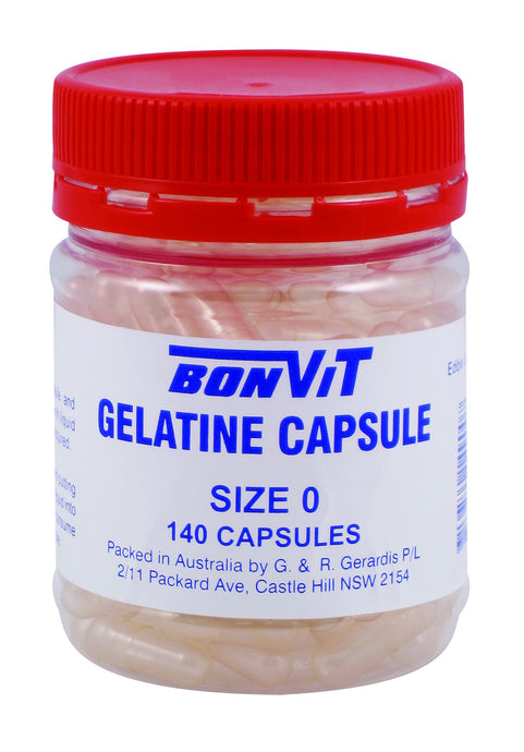 Bonvit Gelatin Capsules Size 0 140 Capsules Empty - Supplement