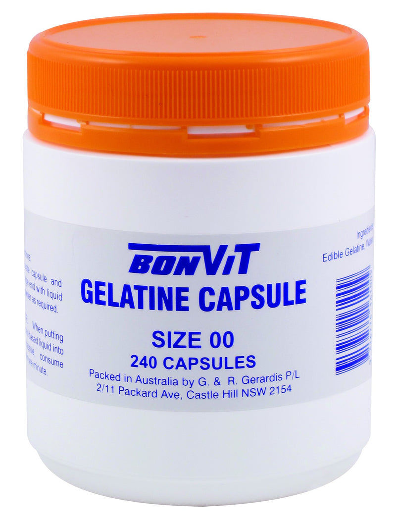 Bonvit Gelatin Capsules Size 00 240 Capsules - Natural Supplement