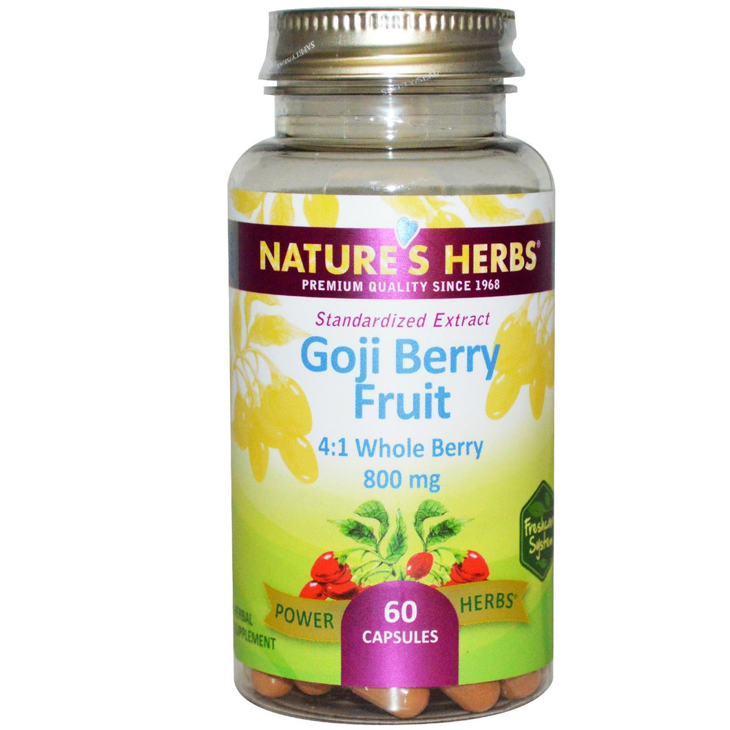 Nature's Herbs, Goji Berry Fruit, 800 mg, 60 Capsules