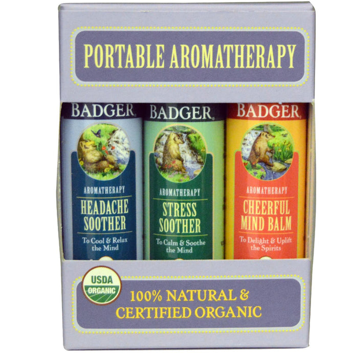 Badger Company, Portable Aromatherapy, Mind Balm, Variety Pack, 3 Balms, 17 g, 0.60 oz, Each