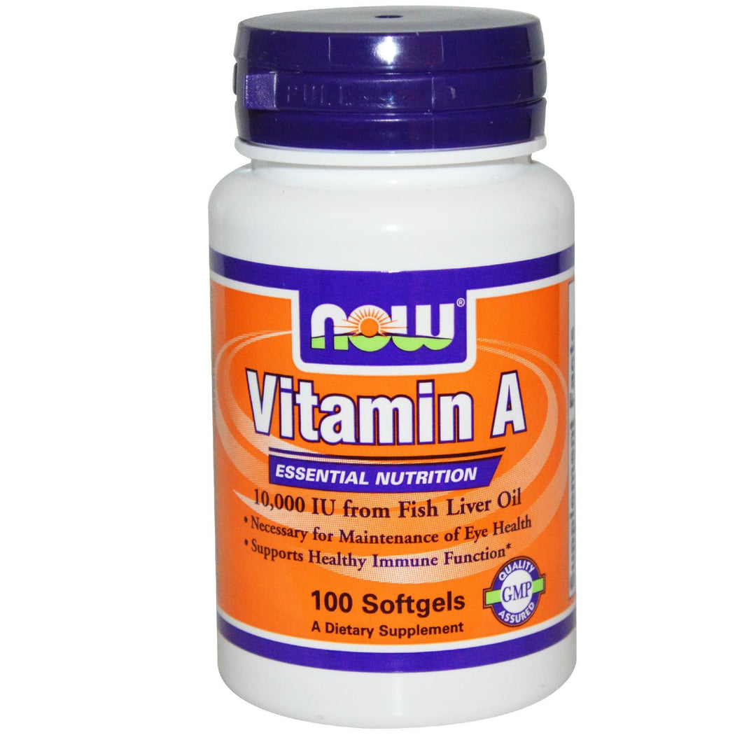 Now Foods Vitamin A 10,000 IU 100 Softgels - Dietary Supplement
