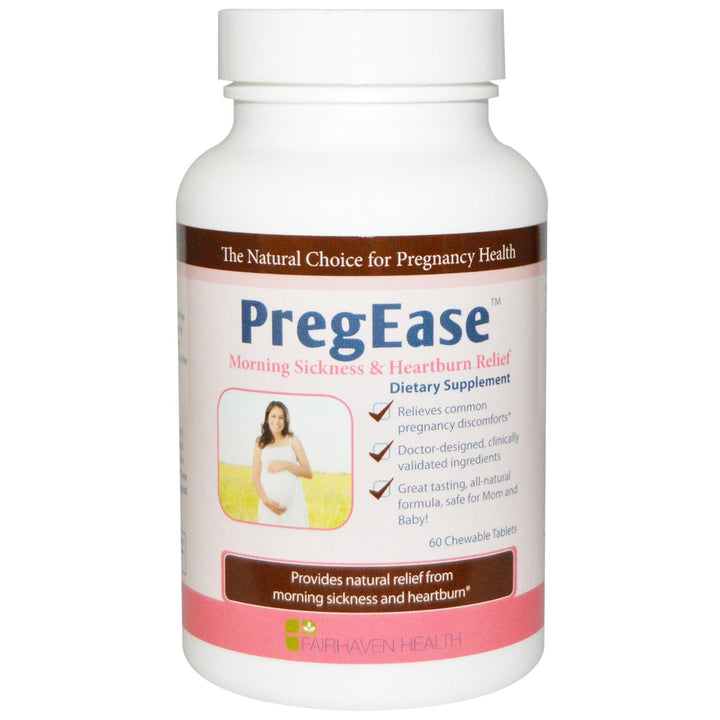 Fairhaven Health, PregEase, Morning Sickness & Heartburn Relief, 60 Chewable Tablets