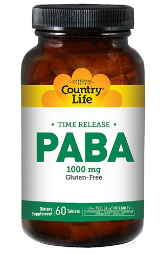 Country Life PABA Gluten Free Time Release 1000mg 60 Tablets