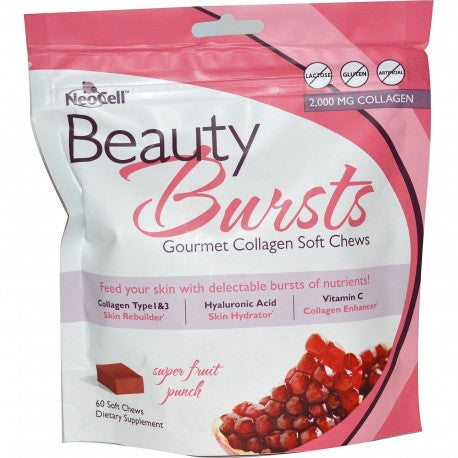 Neocell, Beauty Bursts, Gourmet Collagen Soft Chews, Super Fruit Punch, 60 Soft Gels