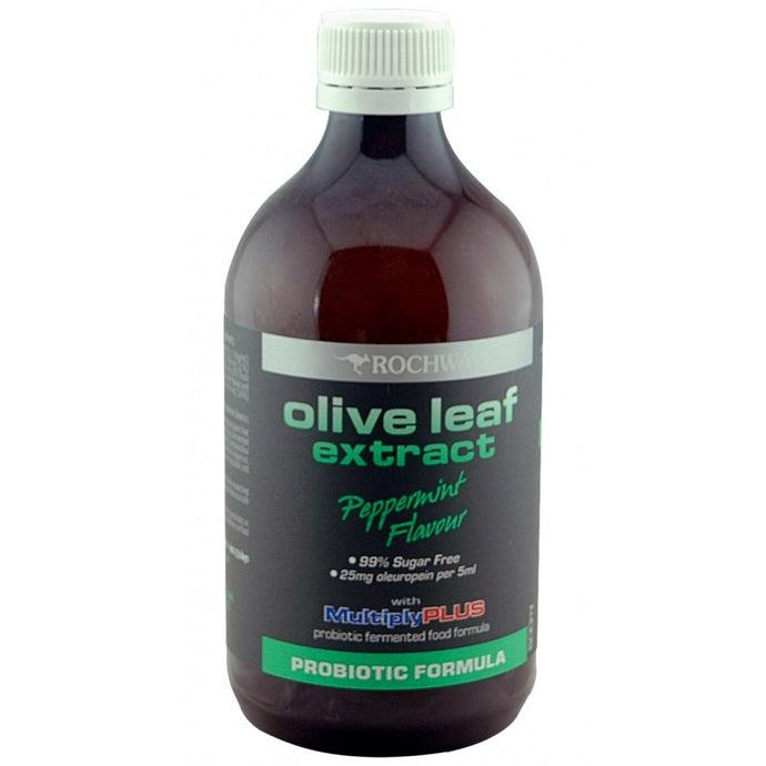 Rochway, Olive Leaf Extract, with MultiplyPLUS, Probiotic Formula, Peppermint, 500 ml
