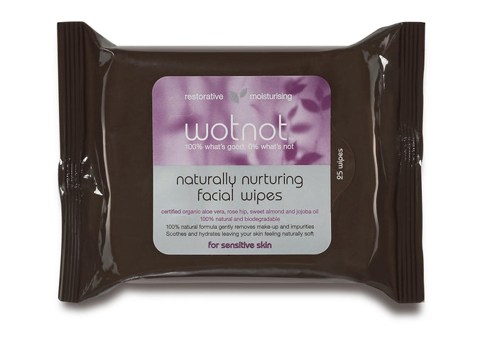 Wotnot Facial Wipes Sensitive Skin Certified Organic with Aloe Vera Rosehip Sweet Almond & Jojoba Oil 25 Wipes