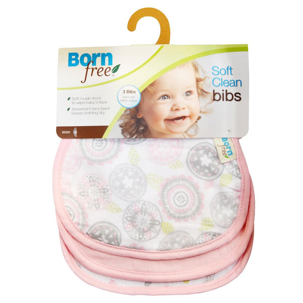 Born Free, Soft Clean Bibs, Pink, 3 Bibs