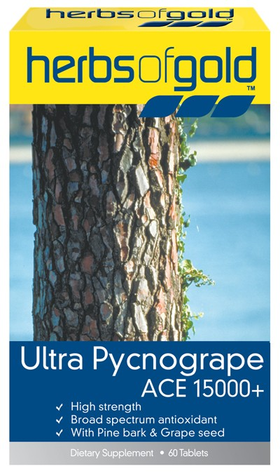 Herbs of Gold, Ultra Pycnogrape ACE 15000 +, 60 Tablets