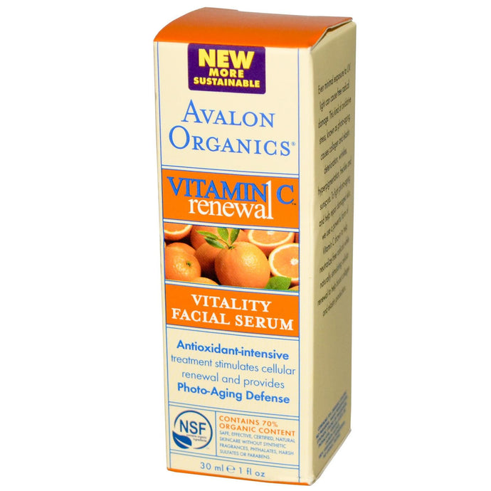 Avalon Organics, Vitamin C Renewal, Vitality Facial Serum, 30ml