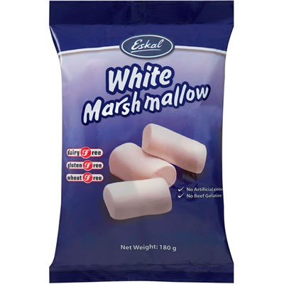 Eskal, White Marshmallows, 180 g