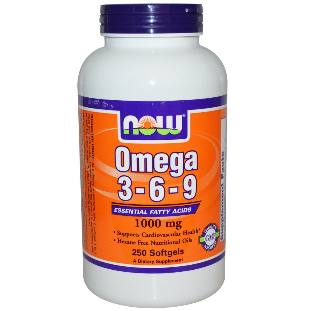 Now Foods Omega 3-6-9 1000mg 250 SoftGels - Dietary Supplement
