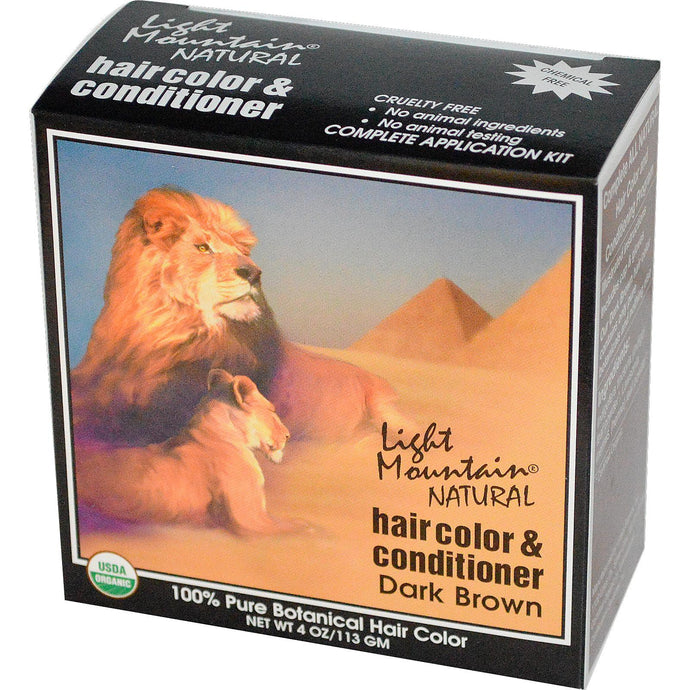 Light Mountain, Organic Hair Color & Conditioner, Dark Brown,113 g, 4 Oz