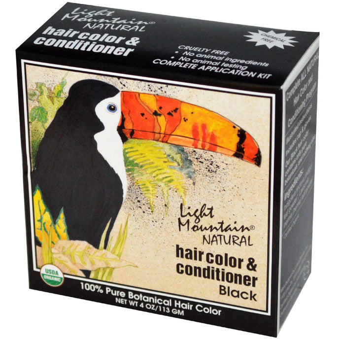 Light Mountain, Organic Hair Color & Conditioner, Black 113 g, 4 oz