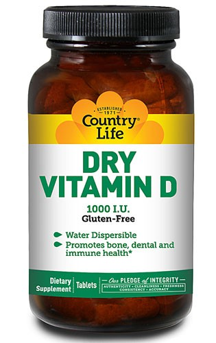 Country Life, Dry Vitamin D, Gluten Free, 1,000 IU, 100 Tablets