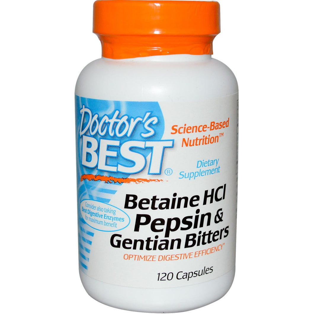 Doctor's Best, Betaine HCI, Pepsin & Gentian Bitters, 120 Capsules