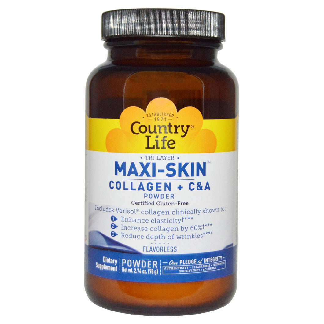 Country Life Gluten Free Maxi-Skin Collagen + C & A Powder Flavorless 78 g 2.74 oz