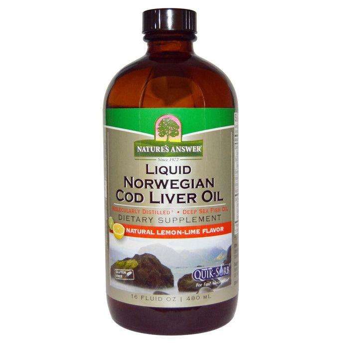 Nature's Answer, Liquid Norwegian Cod Liver Oil, Natural Lemon-Lime Flavor, 480 ml, 16 fl oz