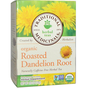 Traditional Medicinals, Herbal Teas, Organic Roasted Dandelion Root, Caffeine Free, 16 Wrapped Tea Bags, 24 g, 0.85 oz