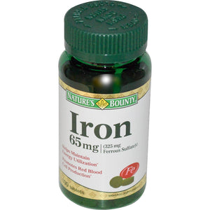 Nature's Bounty Iron 65mg 100 Tablets - Mineral Supplement