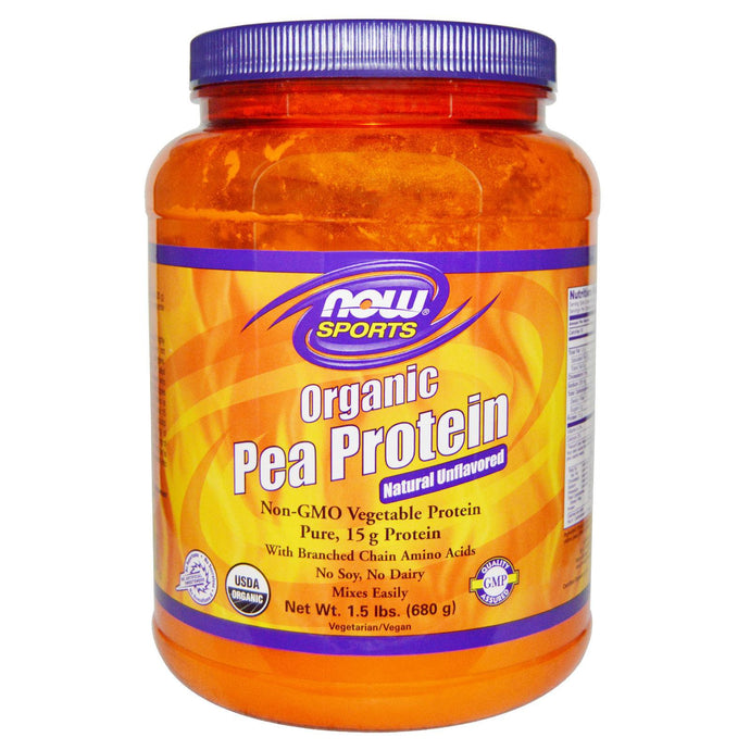 Now Foods Sports Organic Pea Protein Natural Unflavored 680g 1.5 lbs