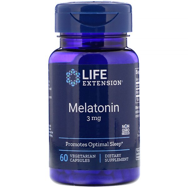 Life Extension, Melatonin, 3 mg, 60 Vegetarian Capsules