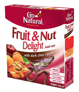 Go Natural, Multi Pack, Fruit & Nut Delight with Dark Choc Ripple, 175 g, 5 Packs X 8 Snack Bars