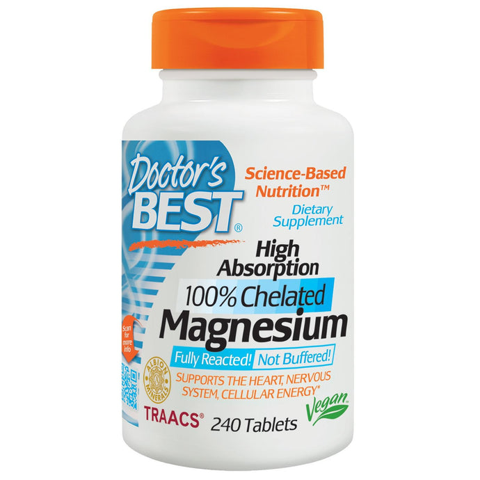 Doctor's Best Magnesium High Absorption 100% Chelated 240 Tablets
