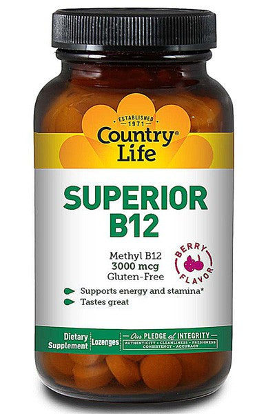 Country Life Gluten Free Superior B12 Berry Flavor 3000 mcg 50 Sublingual Lozenges
